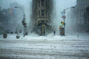 El Flatiron building nevado en Nueva York
