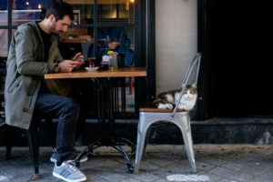 Joven y gato tomando té en Estambul